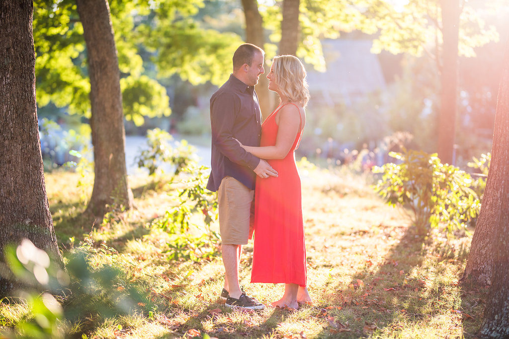 red dress golden hour couple Kaitlyn Ferris engaged