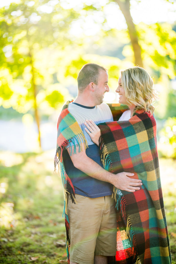 blanket wrapped around couple Kaitlyn Ferris engaged