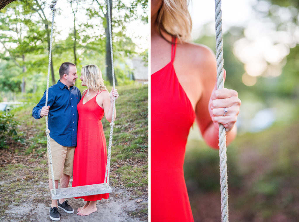 couple on outdoor swing red dress engagement ring Kaitlyn Ferris engaged