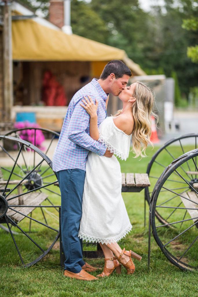 kiss romantic engagement farm