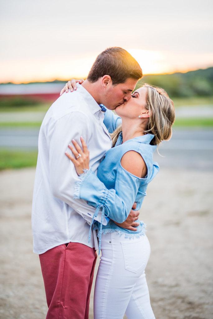 sunset kiss romantic engagement