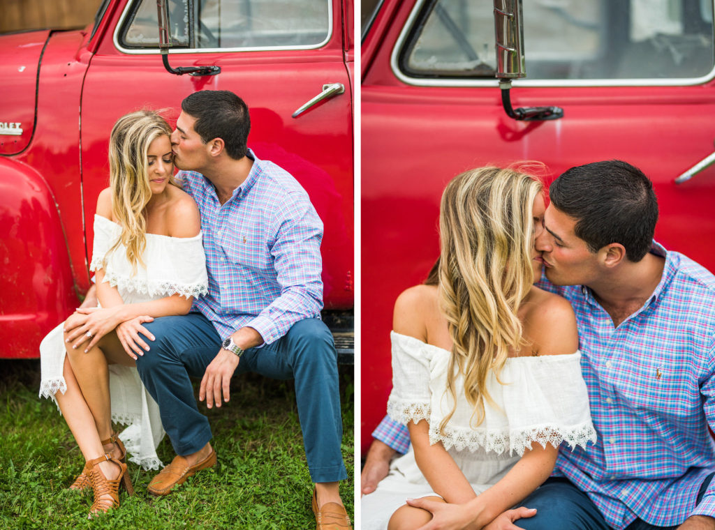 red truck romantic engagement