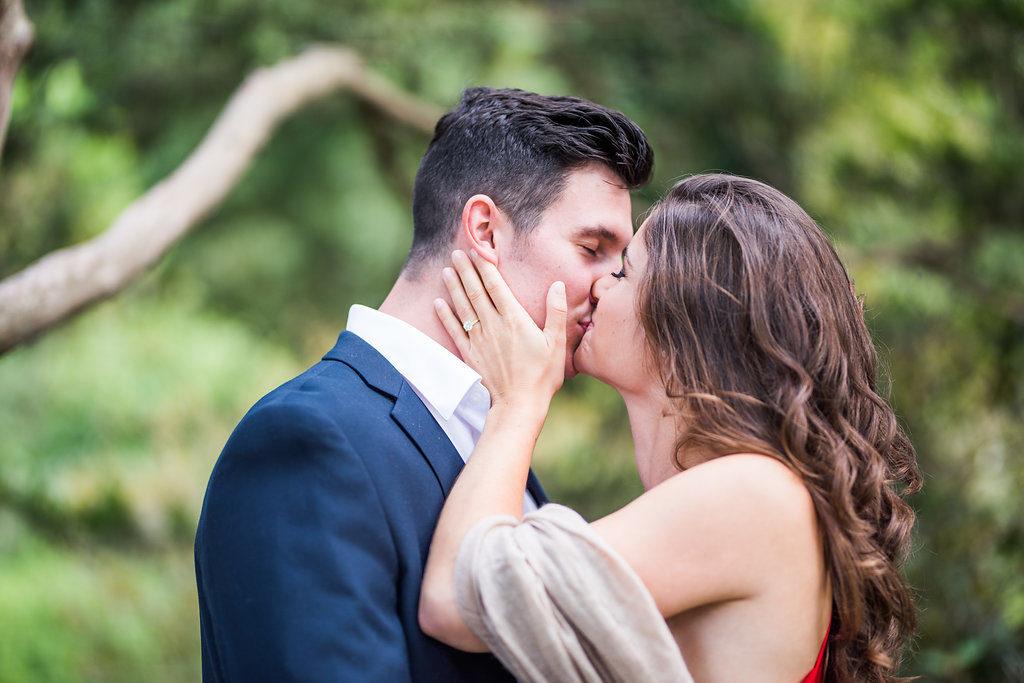 kiss red dress summer engagement