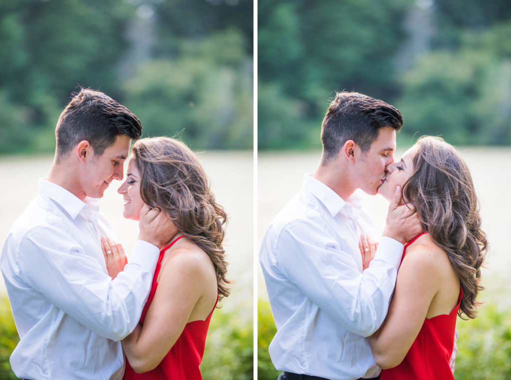 red dress kissing summer engagement
