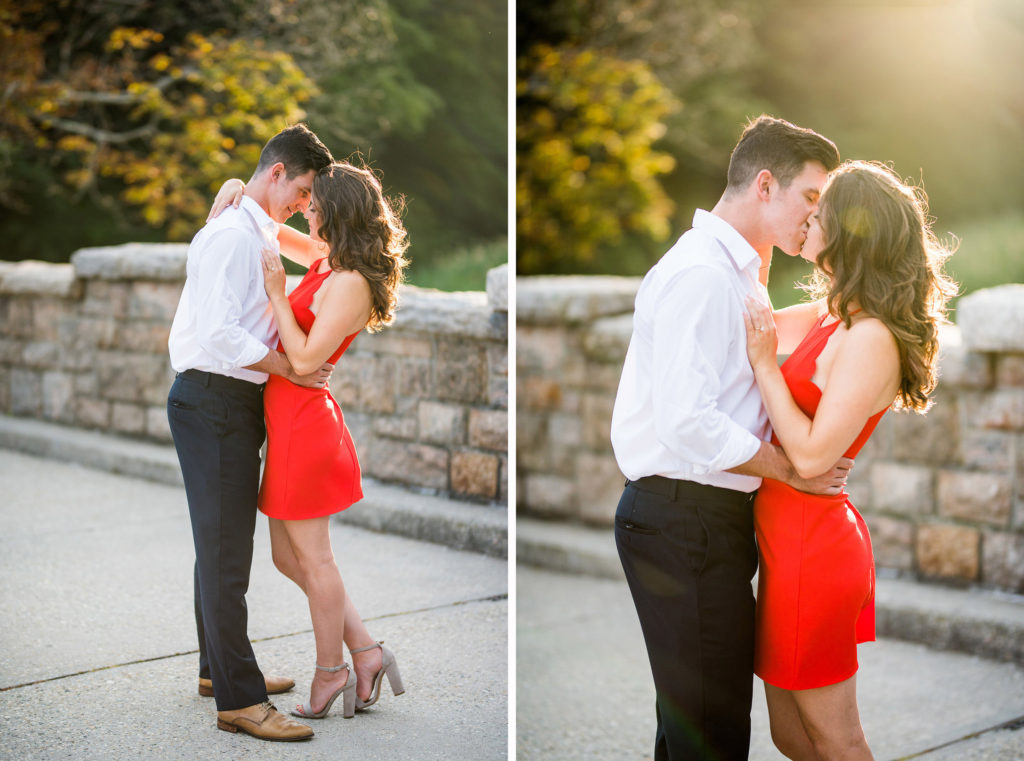 golden hour on stones red dress summer engagement
