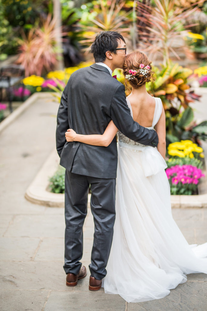 couple arboretum garden wedding