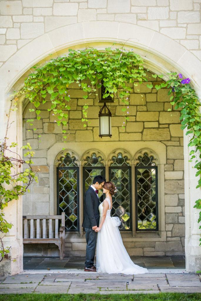 bride and groom forehead to forehead Kaitlyn Ferris photography garden wedding