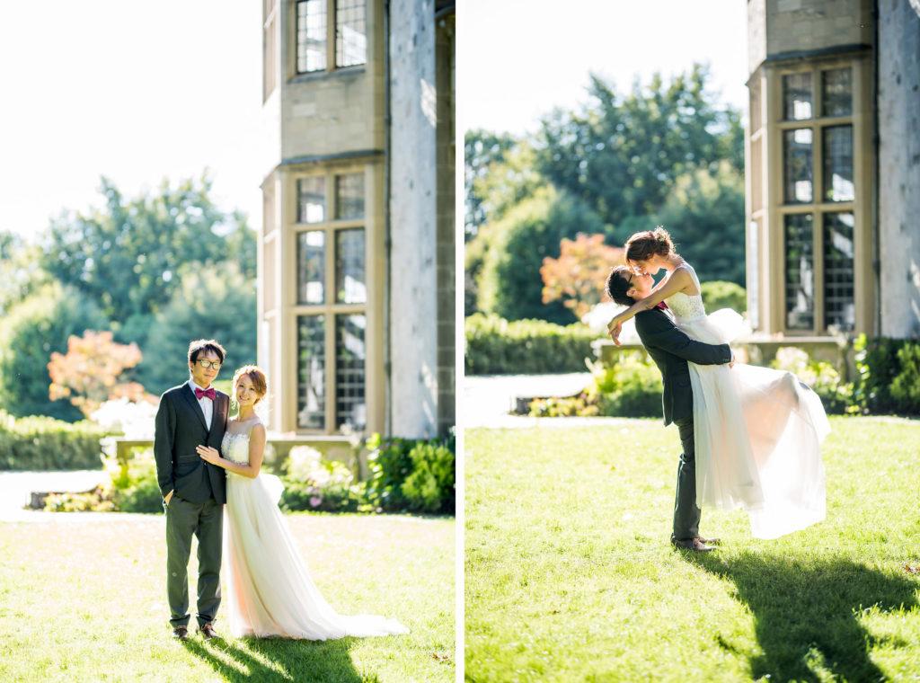 groom picking up bride Kaitlyn Ferris photography garden wedding
