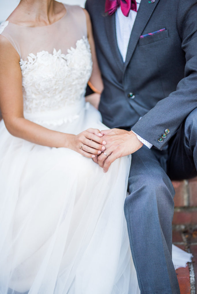 details of bride and groom hands Kaitlyn Ferris photography garden wedding