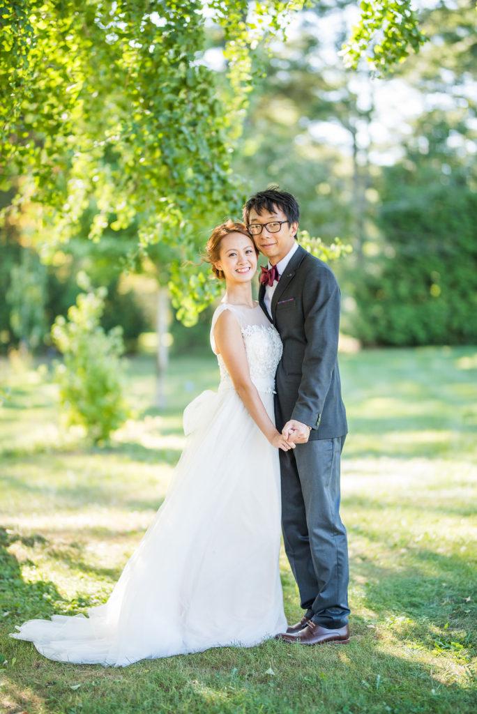 standing together greenery garden wedding