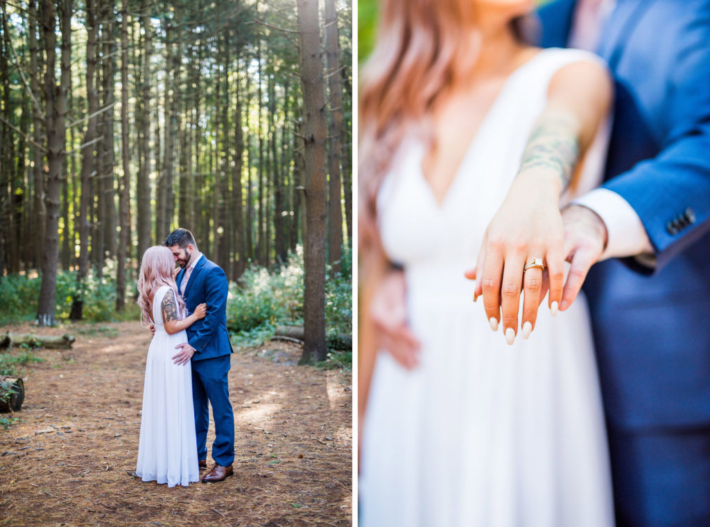 engagement ring couple in woods Kaitlyn Ferris Photography Long Island Wedding Photographer